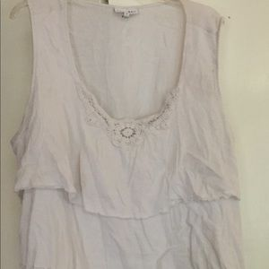 White ruffled cami with lace detail